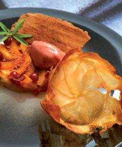 Tarte aux deux pommes et oranges, crumble de châtaignes